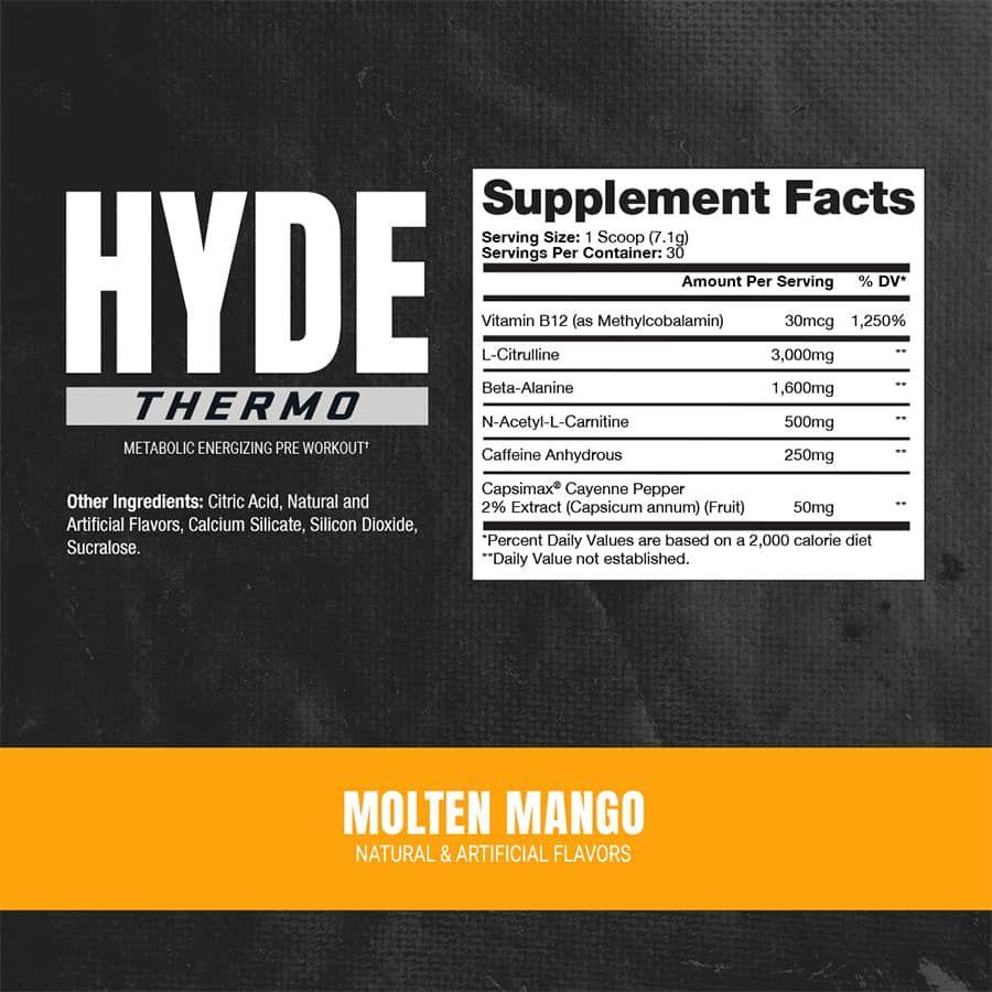 Skład produktu Hyde Thermo Pre Workout